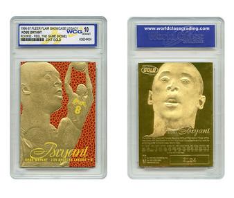 Kobe Bryant Flair Showcase Yellow 1996 23K Gold Sculptured Card Graded Gem Mint 10