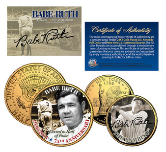 Babe Ruth 75th Anniversary - Commemorative Colorized 2 Coin Set