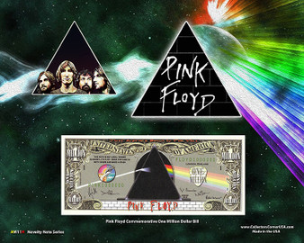 """Pink Floyd"" Novelty Million Dollar Bill Obverse Display on an 8"" x 10"" Display Card"