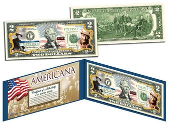 John Wayne Americana Series Colorized $2 Bill