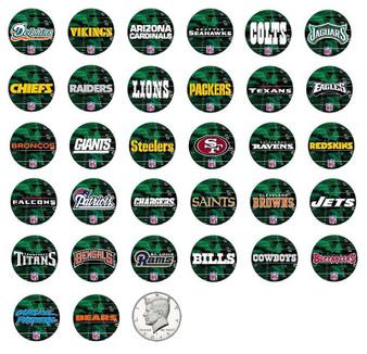 Individual JFK Half Dollar NFL Teams - Green Field