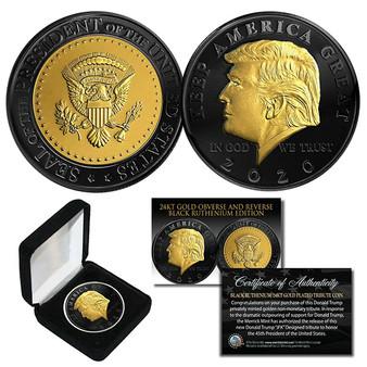 Donald Trump 2020 Keep America Great BLACK RUTHENIUM & 24K GOLD Tribute Coin With Box & COA