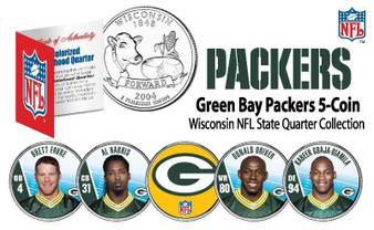 2009 Green Bay Packers Wisconsin State Quarter NFL 5 Coin Set