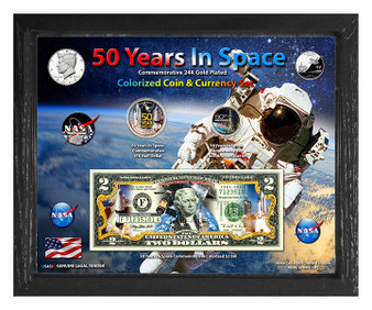"50 Years In Space Colorized Coin & Currency Set in 8"" x 10"" Frame"