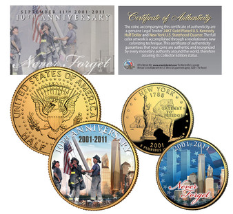 9/11 10th Anniversary 24K Gold Plated JFK Half and State Quarter 2 Coin Set