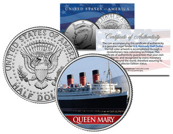 Queen Mary Ocean Liner Colorized JFK Half Dollar