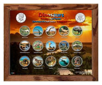 "Dinosaurs Colorized JFK Half Dollar 15 Coin Set in 8"" x 10"" Frame"