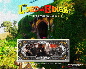 """The Lord Of The Rings Novelty Million Dollar Bill Reverse Display - Shire on an 8"""" x 10"""" Display Card"""