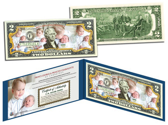 Prince George and Princess Charlotte Colorized $2 Bill