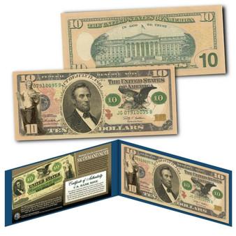 1861 Abraham Lincoln Demand Note Civil War $10 Banknote on Modern U.S. $10 Bill