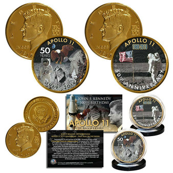 Apollo 11 Man on Moon 50th Anniversary JFK Centennial Tribute 24K Gold Plated 2 Coin Set