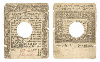 Colonial Note 1780 Connecticut 20 Shillings July 1, 1780 Printed by T. Green SN 20909