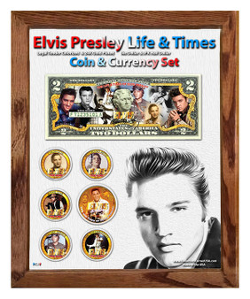 "Elvis Life & Times Colorized Coin & Currency Set in 8"" x 10"" Frame - Portrait"