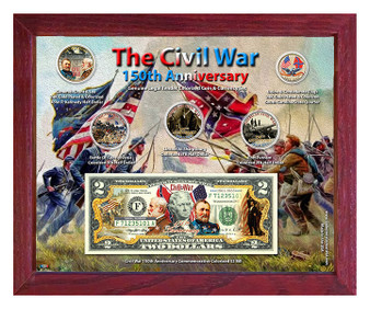 """Civil War 150th Anniversary Colorized Coin & Currency Set in 8"""" x 10"""" Frame"""