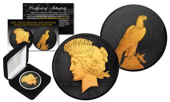 Black Ruthenium & 24K Gold Emblem 1922 Silver Peace Dollar in Case