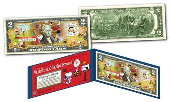 Peanuts Valentine's Day Colorized $2 Bill