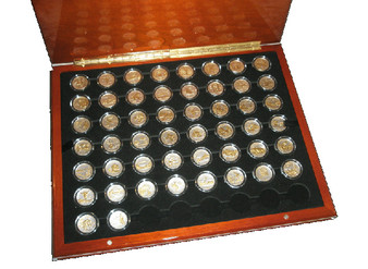 Gold-On-Silver State Quarter 50 Coin Set 1999-2008 in Air-Tites & Heirloom Wood Case
