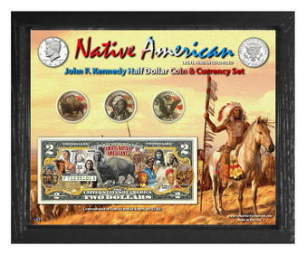 "Native American Colorized Coin & Currency Set in 8"" x 10"" Frame - Landscape"