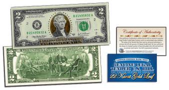 22 Karat Gold Leaf $2 Bill