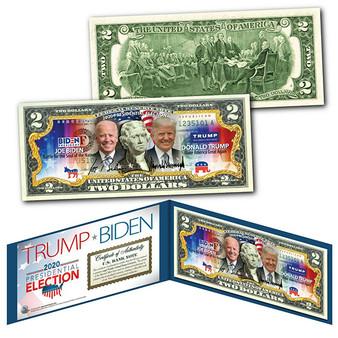 2020 Election Trump/Biden Commemorative Colorized $2 Bill