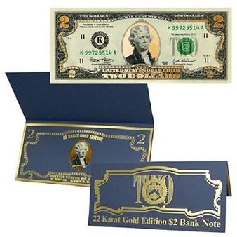Deluxe 22 Karat Gold Leaf $2 Bill