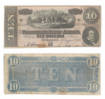 Confederate Currency 1864 $10 Note SN 26530
