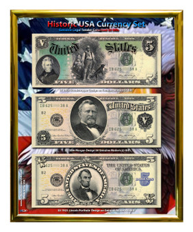 "Historic U.S. Currency Colorized $5 Bill Collection in 8"" x 10"" Frame"