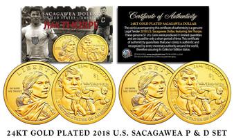 2018 Jim Thorpe 24K Gold Plated Set of 2 Sacagawea Dollars - P&D Mints