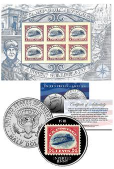 Inverted Jenny 2016 Genuine $2 6-Stamp Sheet With Inverted Jenny Colorized JFK Half Dollar