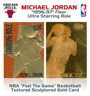 1996 Michael Jordan Ultra Feel The Game Textured 23K Gold Sculptured Card
