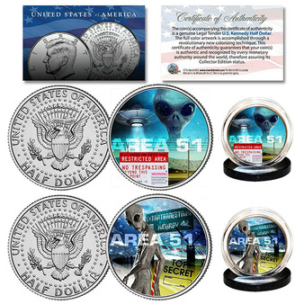 Area 51 - Alien UFO Top Secret Extraterrestrial Colorized JFK Half Dollar 2 Coin Set