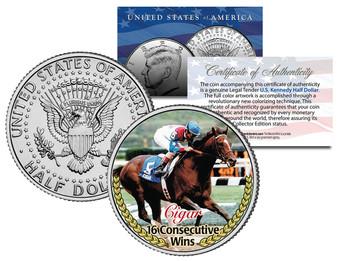 Colorized Famous Racehorses JFK Half Dollar Coins