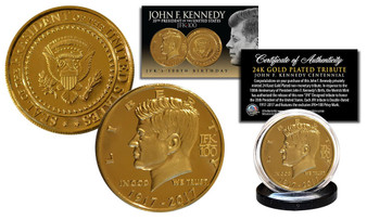 John F. Kennedy 35th President 100th Birthday 24K Gold Plated Tribute Coin