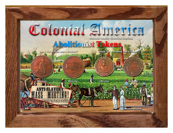 "Colonial America Abolitionist Tokens Historical Replica Set in 5"" x 7"" Frame"