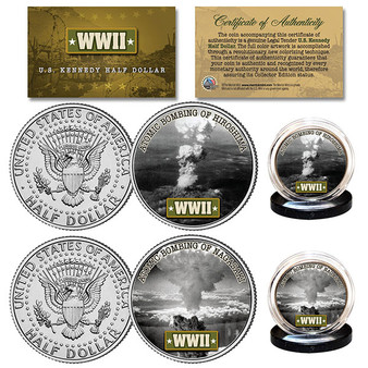 Atomic Bombings of Nagasaki & Hiroshima Colorized WWII JFK Half Dollar 2 Coin Set