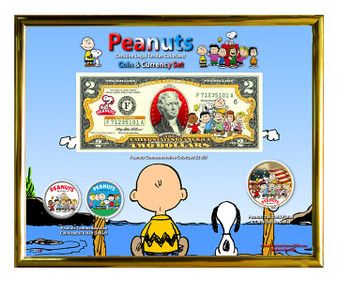 "Peanuts Colorized Coin & Currency Set in 8"" x 10"" Frame"