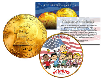 Peanuts Gang With Franklin Serialized 24K Gold Plated Ike Dollar