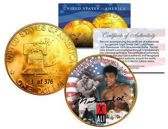 Mohammad Ali Serialized 24K Gold Plated Ike Dollar