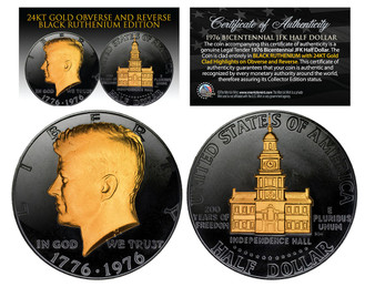 Black Ruthenium Clad 1976 Bicentennial JFK Half Dollar with 24K Gold Portrait