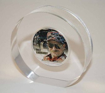 Dale Earnhardt Sr. Colorized Silver Eagle Lucite Paperweight