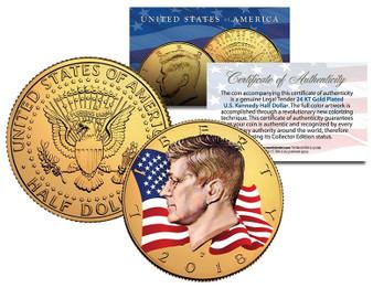 2018 Waving Flag Gold 24K Gold Plated & Colorized JFK Half Dollar