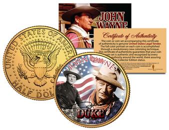 John Wayne Americana 24K Gold Plated JFK Half Dollar