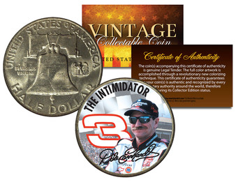 Dale Earnhardt * The Intimidator * Colorized 1951 Franklin Silver Half Dollar Coin