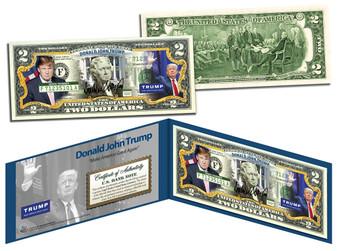 """Donald Trump 2016 """"Make America Great Again"""" Campaign Colorized $2 Bill"""