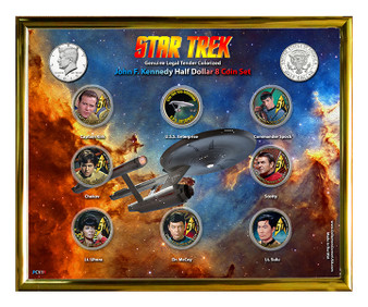 "Star Trek ""Ship Design"" 50th Anniversary Colorized JFK Half Dollar 8 Coin Set in 8"" x 10"" Frame"