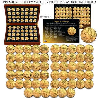 24K Gold Plated State Quarter 56 Coin Set 1999-2009 in Air-Tites & Cherry Wood Case