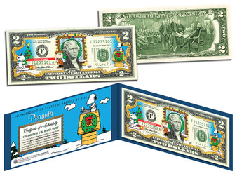 Peanuts Christmas Edition $2 Bill