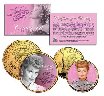 Lucy 100th Anniversary - Colorized 2 Coin Set