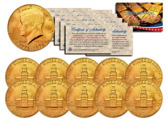 Set of 10 24K Gold Plated Bicentennial 1976 JFK Half Dollars