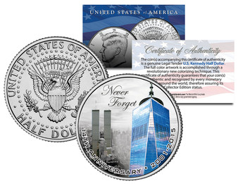 2015 World Trade Center 9/11 14th Anniversary Colorized JFK Half Dollar